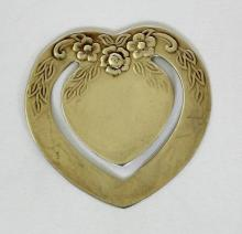 Sterling Silver Heart Bookmark with Repousse  Floral Decoration. Marked .925. Boxed.