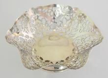 Sterling Silver Pierced Ruffled Edge Bon Bon  Dish by S.J.Rose & Son. 20thc. Hallmarked  London. 108 gm.