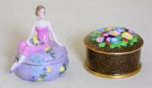 Art Deco Tuscan China Trinket Box/Cover -  Flowers in Relief to Black / Gold Ground..  Also a German Lustre Art Deco Lady  Cover/Powder Box. Circa 1930s. (2 Items) 1st  Quality.