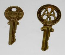 Antique AA Key Automobile Association - 1920  - Scarce - H&T Vaughan. Also a later H&T  Vaughan AA key.  (2 Items)