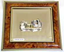 Maltese Framed Bevelled Mirror with Applied  Sterling Silver 3D Village Scene by Deco.  19  x 17 cm.