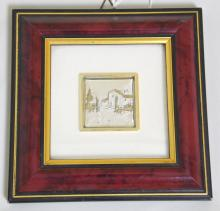 Italian Sterling Silver Gilt 'Villa' Plaque.  Marked .925. Framed under glass 5 x 5 inches.