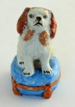 Antique Staffordshire Miniature Porcelain  Sitting  King Charles Spaniel Figurine.  1900s. Height  2 1/2 inches.