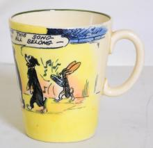 Rare Royal Doulton Daily Mirror 'Pip, Squeak  and Wilfred' Coffee Cup.  Circa 1930. Based  on the Daily Mirror comic strip, this Royal  Doulton series was only produced from 1927 to  1935. Featuring Pip the dog, Squeak the penguin and Wilfred the rabbit created by  Uncle Dick (B J Lamb) and drawn by A B Payne  Pattern D4741. 1st Quality.  Height 8.2 cm