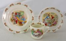 Royal Doulton 'Bunnykins' by Barbara Vernon:  Nurseryware Trio.  (3 Items)