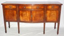 Bevan Funnell Reprodux Bowfronted Mahogany  Sideboard. 20thc.  Height 36.5 in.  Widt 63  in.  Depth 18.5 in.
