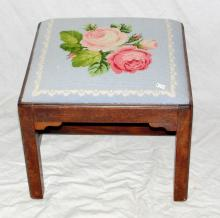 Georgian Mahogany Stool. Early 19thc.  Supported on moulded edged straight legs   linked by cross stretchers with applied  corner brackets. The drop in seat has been  re-upholstered in a roses tapestry. 16.5 x 15  x 14 inches.