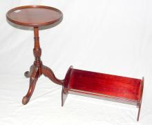 A Mahogany Tripod Wine Table, 20thc. Height 19.5 inches, Diameter 12 inches, Together with Mahogany Book Stand. Height 6.5 in, Width 17 in, Depth 9 inches