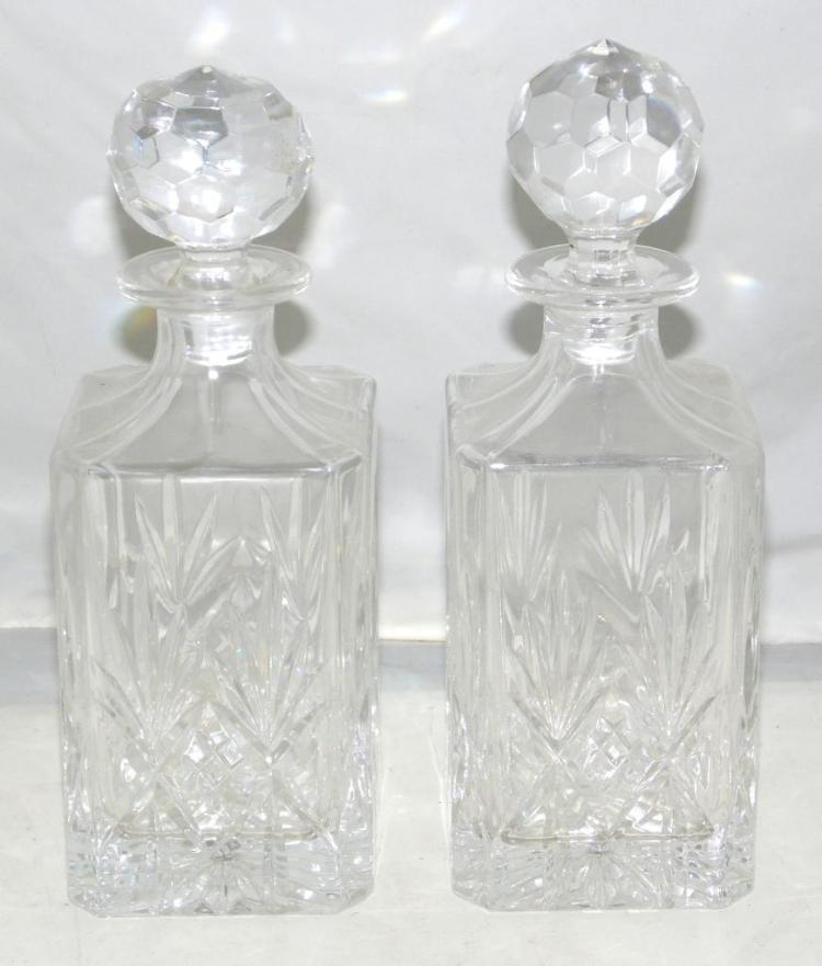 Nice Quality Pair of Cut Glass Decanters with Stoppers. Height 26cm (2 items)