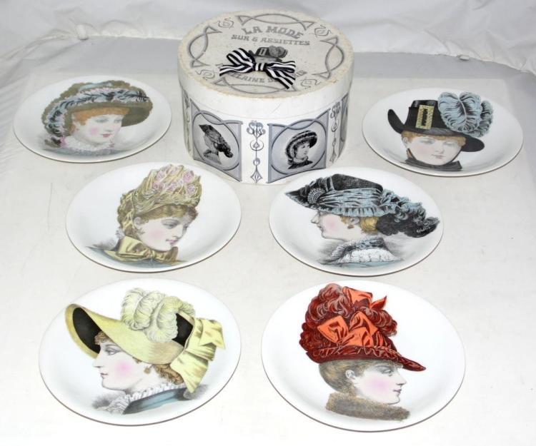 Porcelaine de Paris, Victorian Fashion Ladies Collectors Plates c.1960's, Set of 6 contained within a special collectors Hat Box. 'La Mode Sur 6 Assiettes Porcelaine De Paris' (7 items)