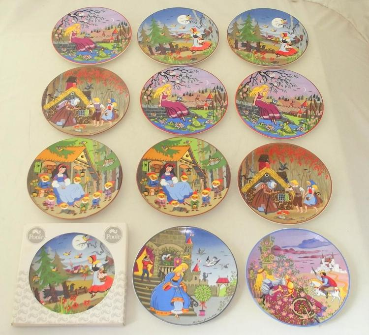 Vintage Poole Pottery Fairy Tales/Folktales/Classic Stories Collectors Plates by Barbara Furstenhofer. (12 Items). Diameter 15.5 cm