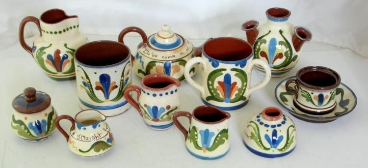 Collection of Devon Torquay Pottery Longpark Scandy Motto Ware to Include: Teapot/Cover,Tea Duo,Inkwell,Jugs Etc. (12 Items)