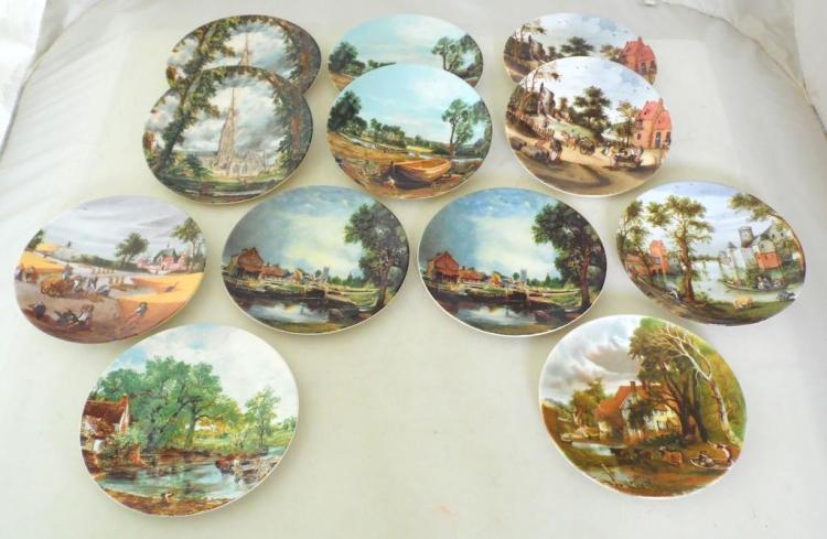 Vintage Poole Pottery Fine Art John Constable Collectors Plates . (12 Items). Diameter 15.5 cm