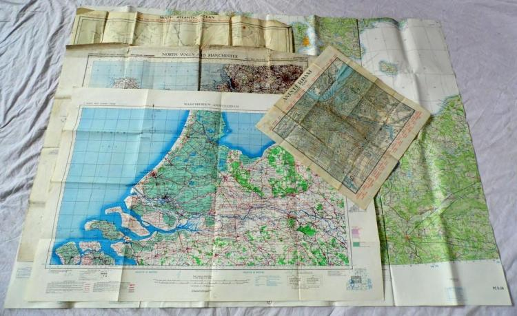 WWII Maps Including Military Ordnance Survey Map of North Wales c.1938, Walcheren - Amsterdam Army/Air Sheet No 2a & 3a c.1943, North Atlantic Ocean c.1942, USAF Pilotage Chart c.1967 & Amsterdam Travel Brochure from 1945. (5 items)