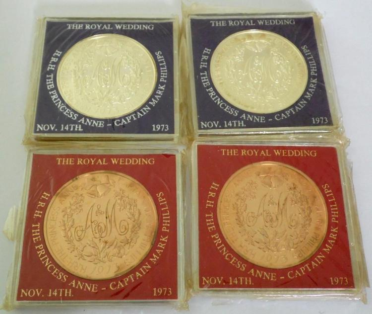 2 Silver & 2 Bronze 1973 The Royal Wedding Crowns 'H.R.H. The Princess Anne-Captain Mark Phillips. UNC. 89.58 gm. .925. (4 Items)
