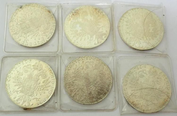 6 Silver Austria 1780 Thaler Restrikes Maria Theresia. UNC. .833. Diameter 40mm. (6 Items)