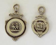 Fattorini & Sons Silver Pocket Watch Fobs for Junior League Football. Circa 1909/10. Hallmarked Birmingham. (2 Items)