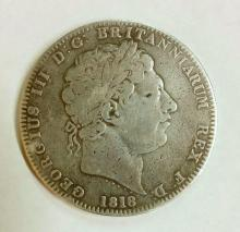 Great Britain George III Silver 1818 Crown. Fine.  27.9gm.
