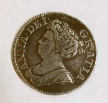 Great Britain Silver Queen Anne 1711 shilling. Obv: ANNA. DEI. GRATIA. Fourth draped bust left; deeply engraved