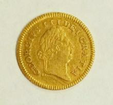Great Britain George III (1760-1820) Gold Third-Guinea, 1802, first laureate head right, rev second type crown at centre, date below, milled edge.(MCE.454; S.3739). VF. 2.8 gm.