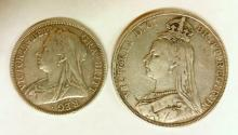 Great Britain Queen Victoria Silver 1889 Crown. Also Queen Victoria Silver 1900 Halfcrown. (2 Items). 41.8 gm.