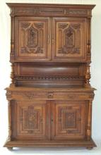 Antique French Carved Oak Hunts Cupboard.  19thc.  Height 90 in.  Width 55 in.  Depth 21 inches.