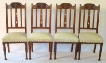 A Set of 4 Art Nouveau  Carved Oak Decoration Dining Chairs. Circa 1900.  Height 41 inches. (4 Items)
