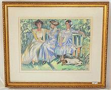 Paul Maze (France / England, 1887-1979). Parisian Ladies on a Park Bench. Signed 'Paul Maze' (lower left). Pastel Framed 32.5 x 70 cm.