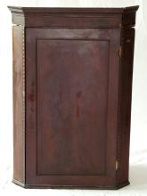 Georgian Mahogany Corner Cabinet Having 3 Shelves with the Interior Painted in Green. 18thc. Faults.