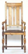 Antique Oak Carver Chair. Early 1900s. Height 45 inches.