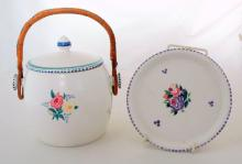 Poole Pottery Lidded Biscuit Barrel with Under Tray in Floral Decoration. (2 items)