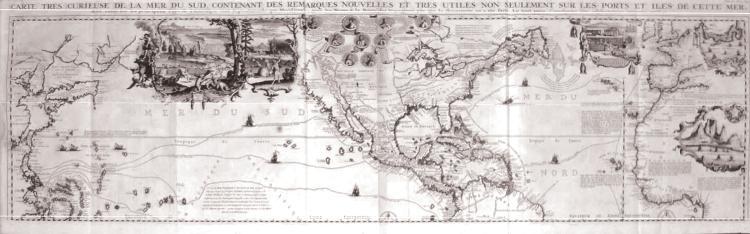 Carte Tres Curieuse de la Mer du Sud, Contenant des Remarques Nouelles et Tres Utiles Non Seulement sur les Portes et Iles de Cette Mer.