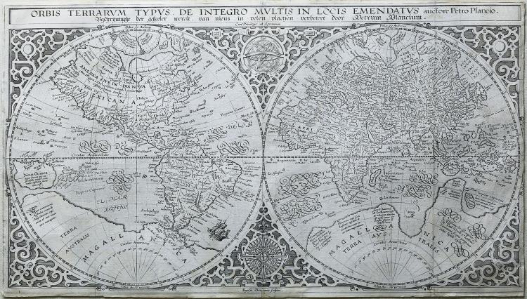Engraved Map of the World by Plancius, 1590