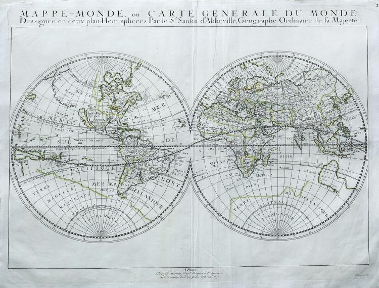 Sanson Double Hemisphere Map of the World