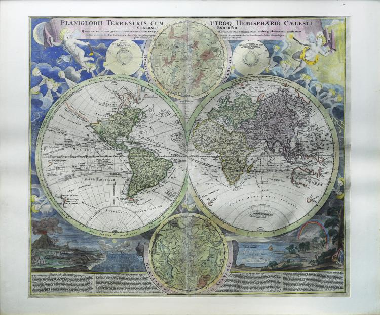 Engraved Map of the World by Homann, c. 1720
