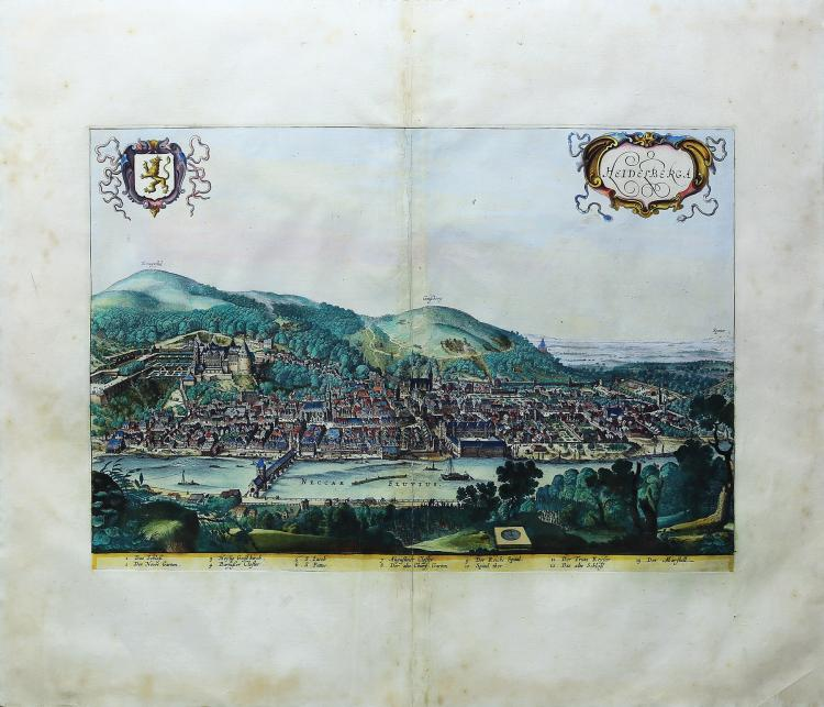 Visscher Engraving of Heidelberg, Germany