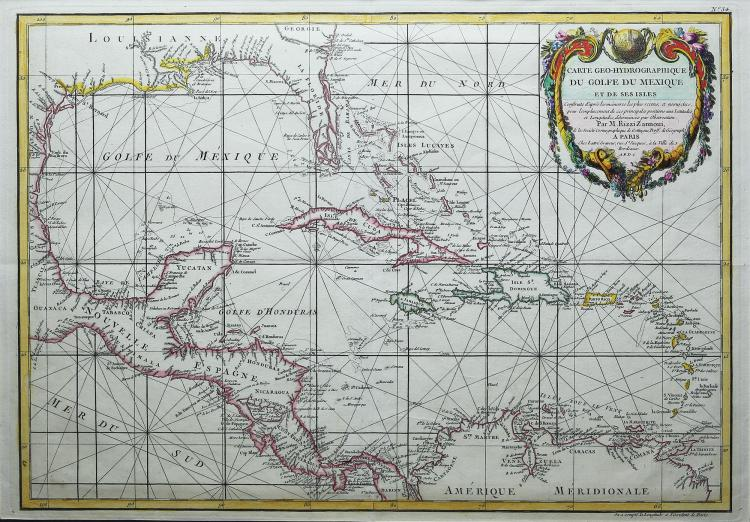 Fascinating 18th Century map of Florida, the Gulf Coast & Caribbean
