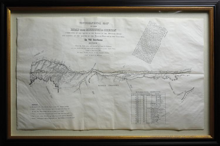 Stunning example of the Preuss-Fremont map, the first map to show the Oregon Trail accurately
