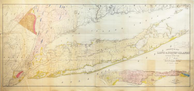 Landmark map of Long Island and the earliest Long Island Wall Map