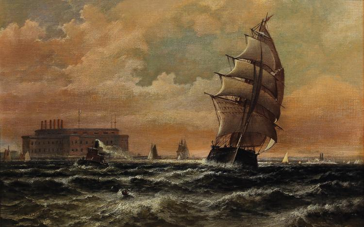 Late 19th Century Oil Painting of New York Harbor by Perkins