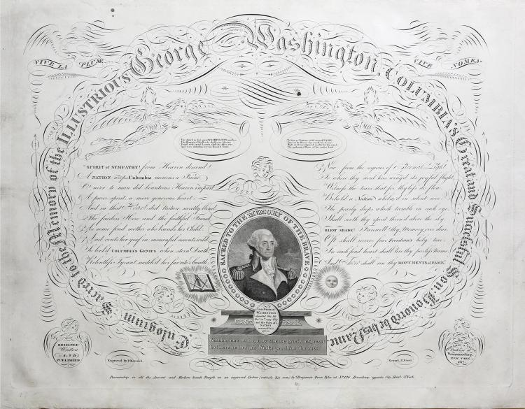 This beautiful and fascinating print expressing Washingtons reputation and patriotic fervor