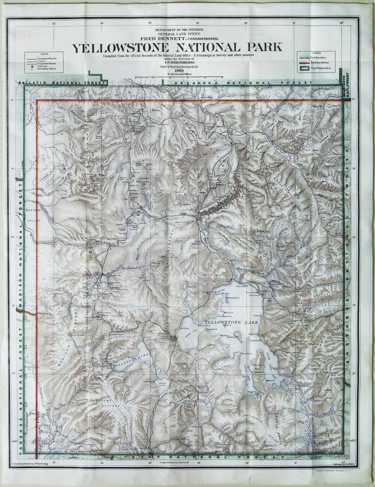 Early-20th-century map of Yellowstone National Park