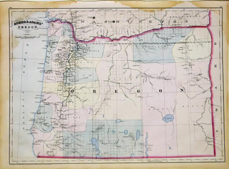 Large-format Asher & Adams Lithographed Map of Oregon