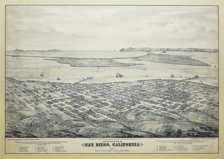 Lithographed Bird's-eye view of San Diego in 1876