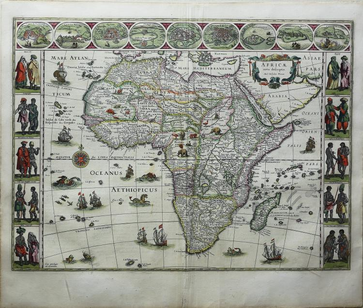 Attractive old color example of Blaeu?s map of Africa