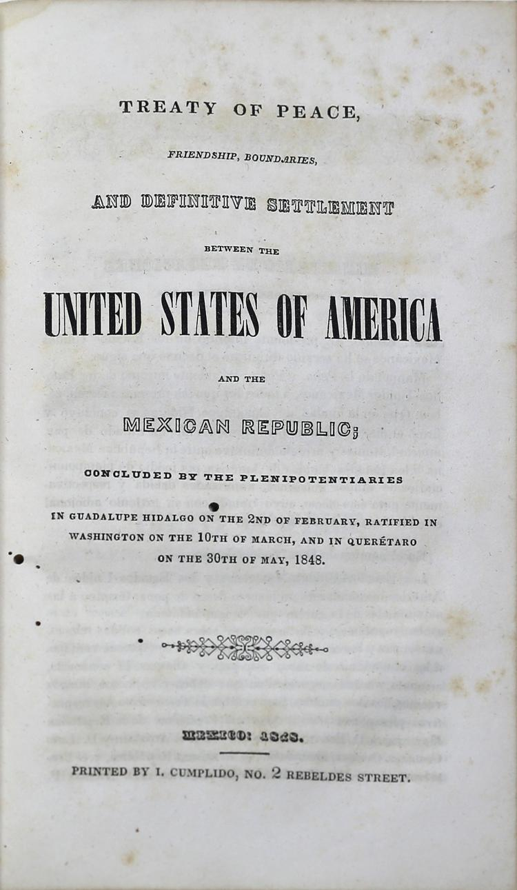 First Edition of the Treaty of Guadalupe Hidalgo
