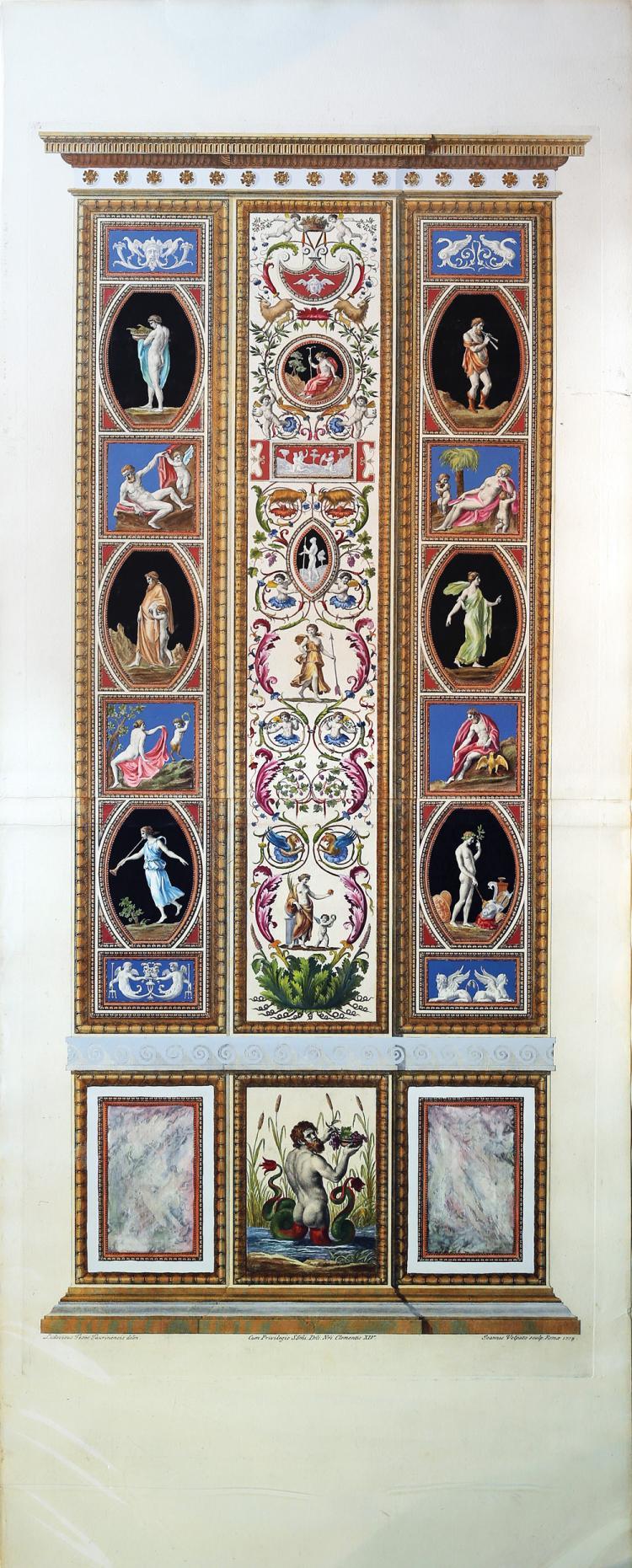 Beautiful Engraved Plate after Rafael  Copied From the Loggia di Rafaele Nel Vaticano in Rome