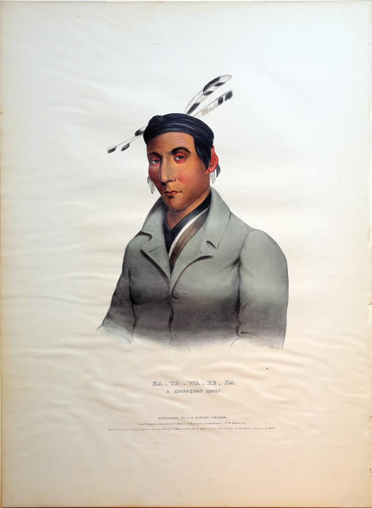 Lithographed Indian Portrait by McKenney & Hall