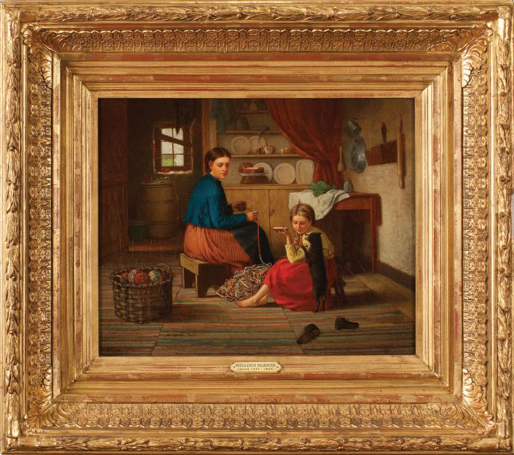William McEwan, Balling Yarn in the Kitchen Oil Painting