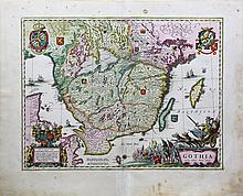 Beautiful coloured map of southern Sweden showing Götaland by Blaeu